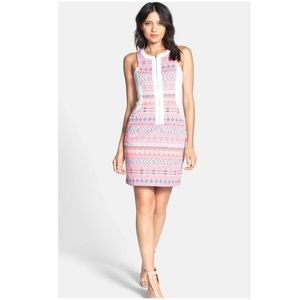 New Ella Moss 'Paz' Print Front Zip Sheath Dress